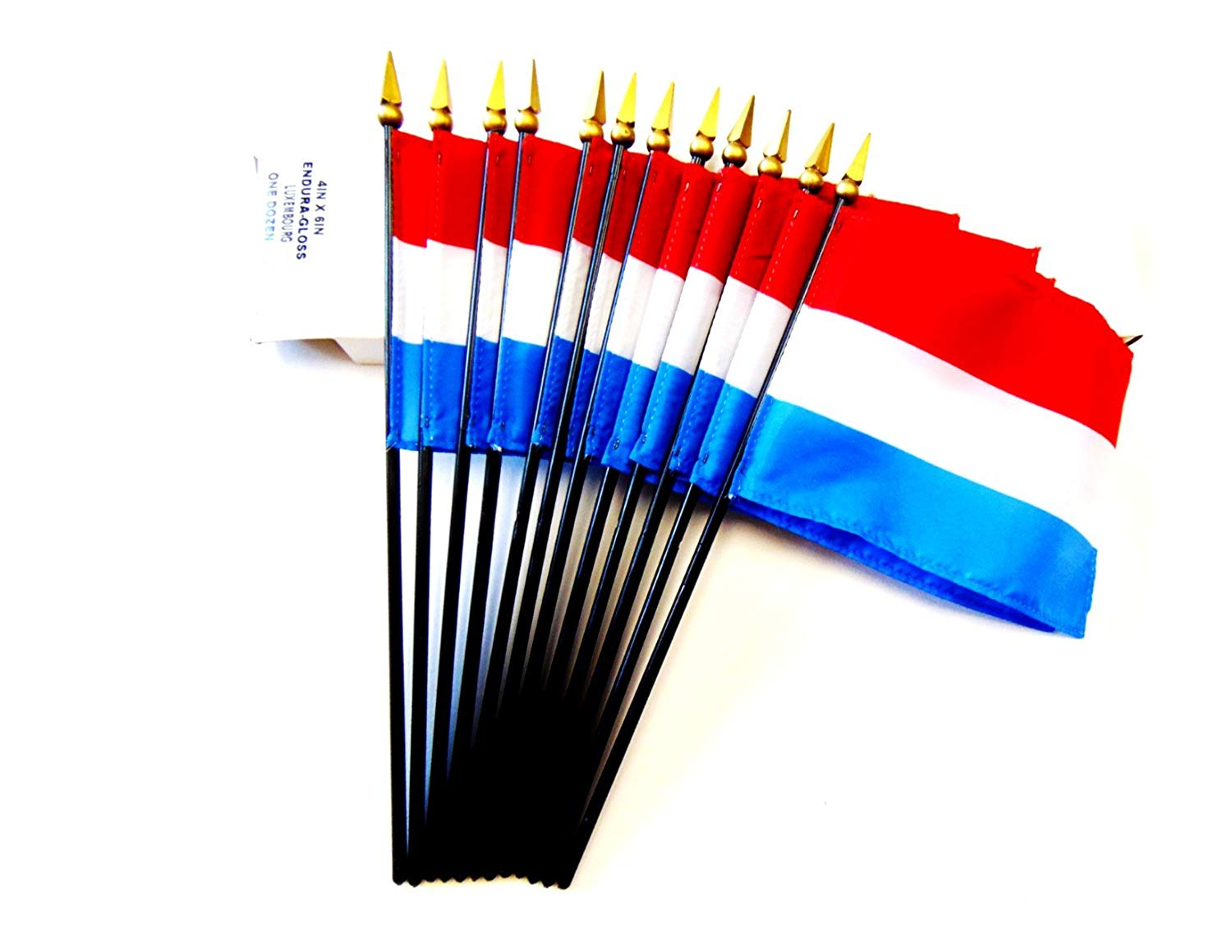 "MADE IN USA!! Box of 12 Luxembourg 4""x6"" Miniature Desk & Table Flags; 12 American Made Small Mini Luxembourger Flags in a Custom Made Cardboard Box Specifically Made for These Flags"