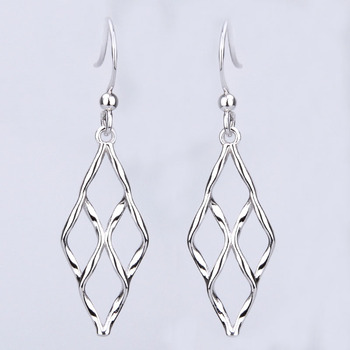 Rectangular Twist Extra Long Post Earrings Fashion Sterling Silver Stud