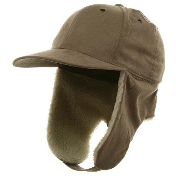 custom flat brim baseball cap with ear flaps fashion men black snow winter hat for sun protection fleece lined