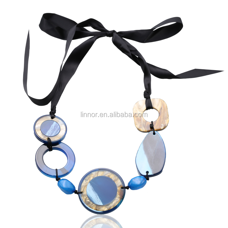 Fashion Color Optional Black Ribbon Choker Type Acrylic Different Types Of Necklace Chains Jewelry Necklace