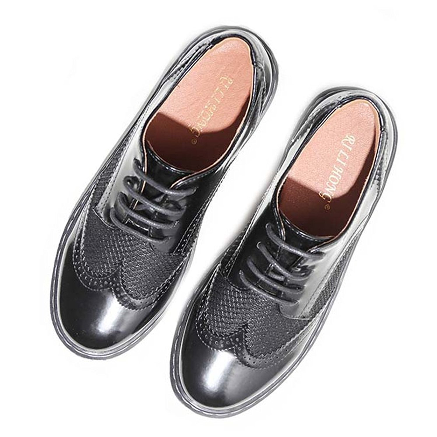 567b392bd48 JINANLIPIN Women s Lace-up Brogues Oxfords Wingtip Vintage Low Heel Dress  Casual Shoes