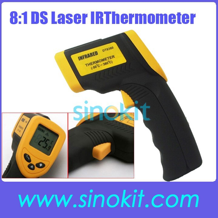 Non-Contact 8:1 DS IR Laser Infrared Digital Thermometer -50~380'C <strong>Temperature</strong> DT8380