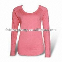 Single Jersey Long Sleeves Women's T-shirt, Made of 100% Cotton and 160gsm to 200gsm