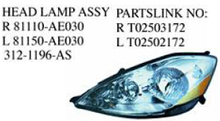 312-1196-AS OEM 81110/81150-AE030 FOR TOYOTA SIENNA 06'-08' Auto Car head lamp assy head light assy