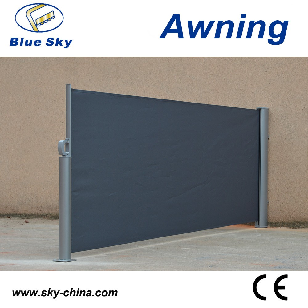 Outdoor retractable wind screen side awning screen for for Retractable outdoor screens