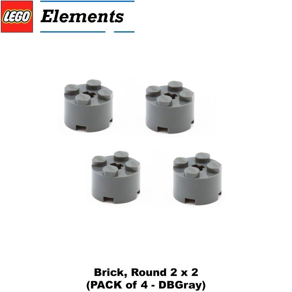 Lego Parts: Brick, Round 2 x 2 (PACK of 4 - DBGray)