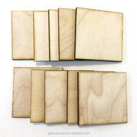 "3"" inch laser engraved Unfinished blank Wood Squares pieces for holiday craft"