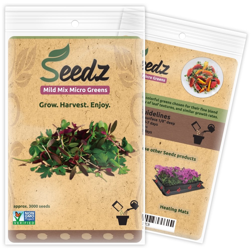 CERTIFIED ORGANIC SEEDS (Appr. 3000) - Mild Mix Micro Greens Seeds - Open Pollinated Vegetable Seeds - Organic, Non Hybrid Garden Seeds - USA