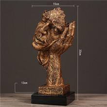 VILEAD 32 см Смола тишина Золотая маска статуя абстрактные украшения статуэтки маска скульптура ремесло для офиса винтажный домашний декор(Китай)