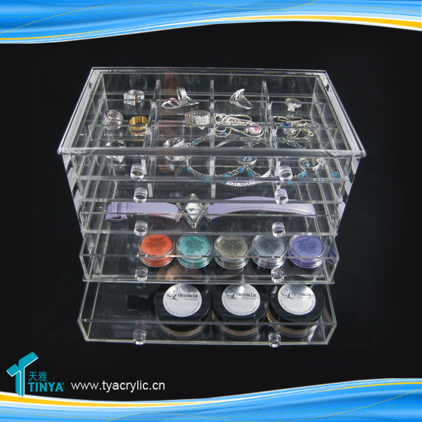 China Factory 2016 5-tier Jewelry Display Tray,Customize Jewelry Makeup Display Stand,Vanity Acrylic Ring Display Case Exporter
