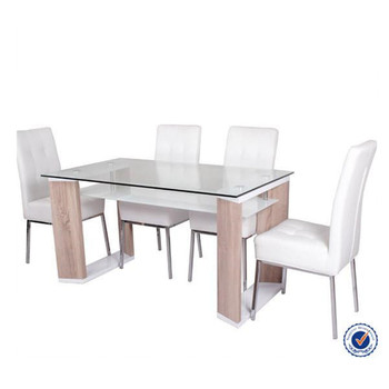 Glass Top Wood Frame Double Layer Dining Table - Buy Double Layer ...
