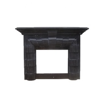 Natural Jingxing Black Natural Stone Marble Electric Fireplace