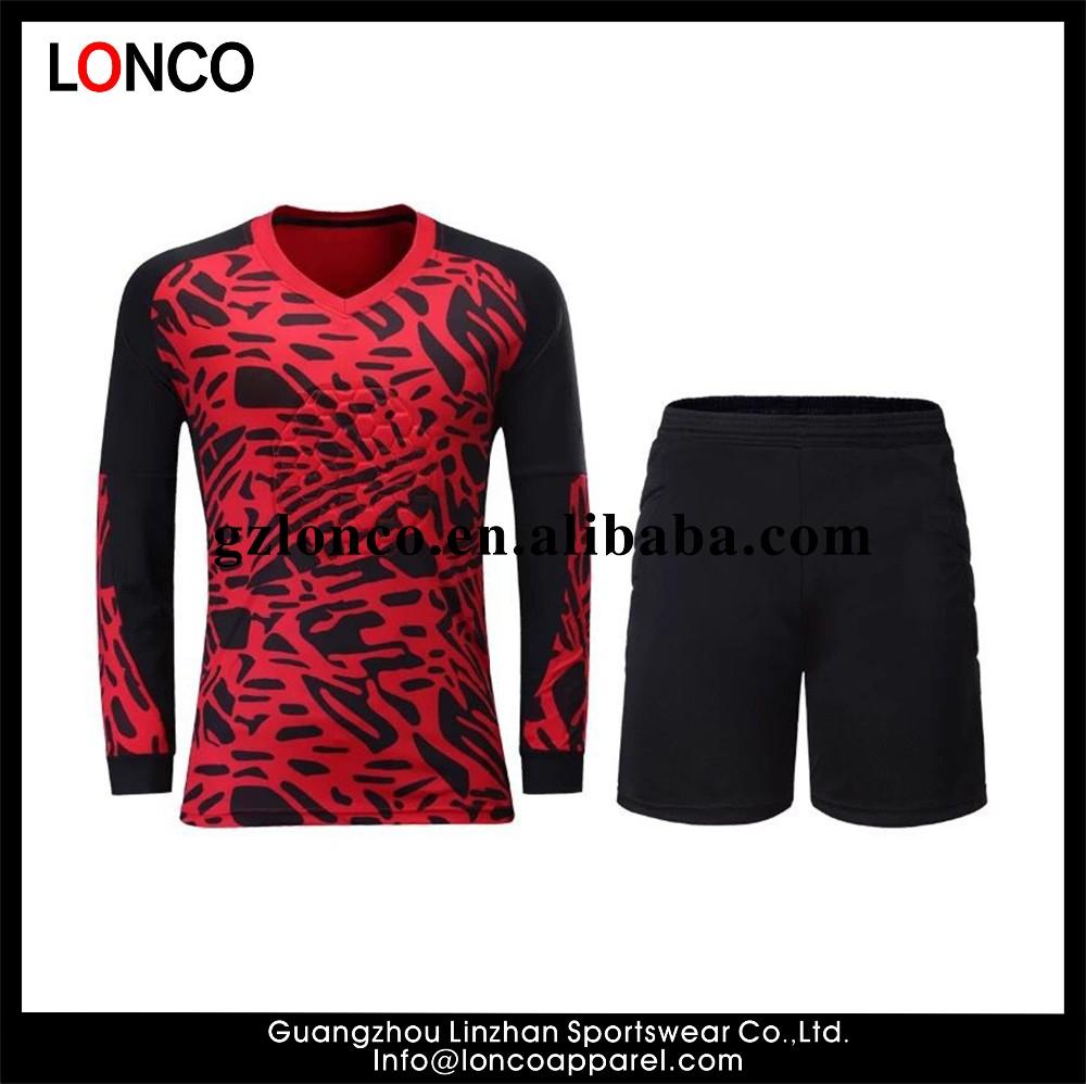 Diseño de encargo al por mayor Jersey portero jersey de fútbol conjunto uniforme  uniformes de fútbol 23a649e092c46