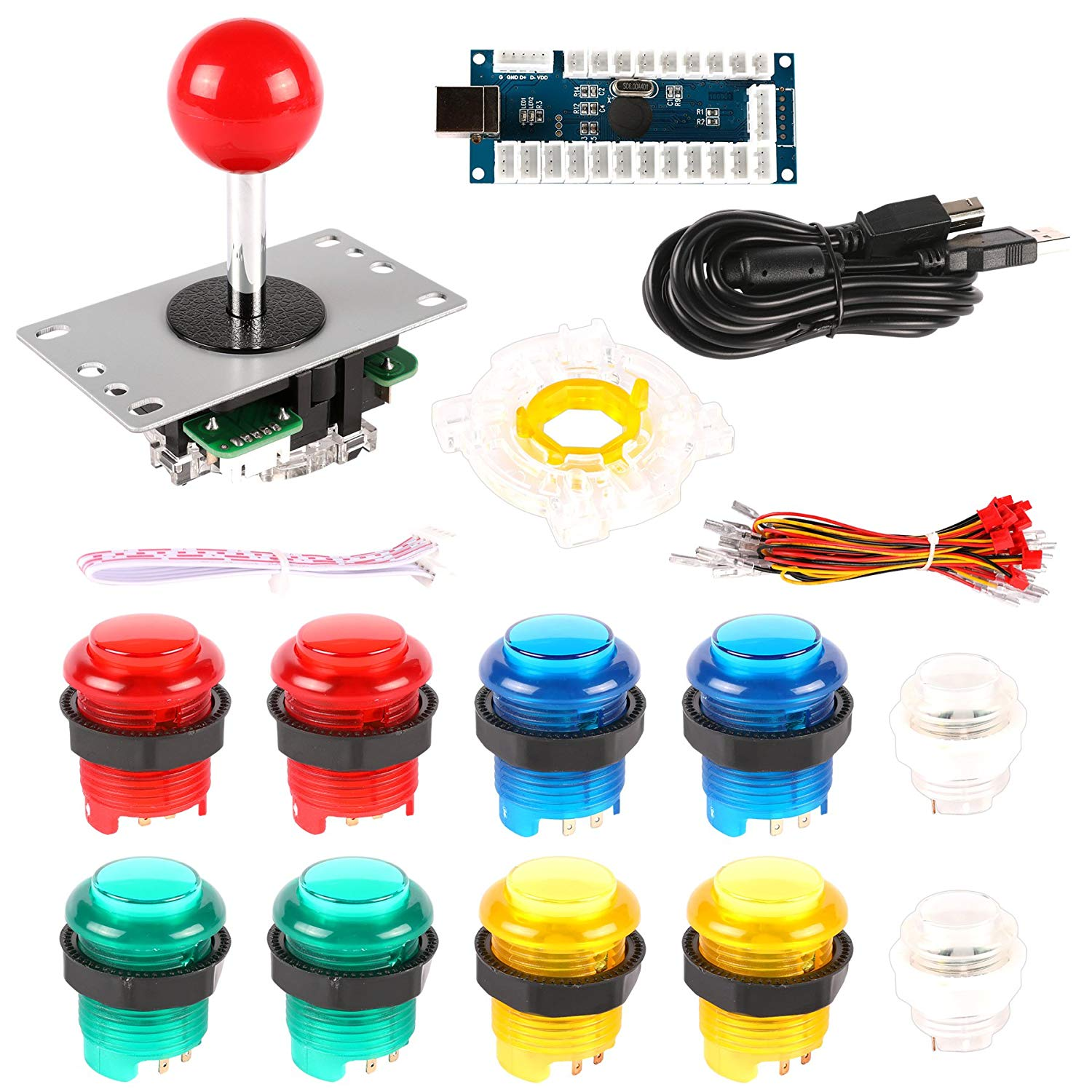 Hikig Arcade Game Controller DIY Kit For USB Joystick DIY, USB MAME Controller DIY and Raspberry Pi 3 Arcade DIY (Zero Delay LED USB Encoder + Joystick + 10x LED Push Button + Octagonal Restrictor)