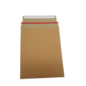 Recycled rigid paper B6 brown plain envelope with seal and peal