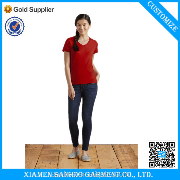 High Quality Cotton Bulk V-Neck T Shirt Women Blank Tshirt Softness Cheap From China Manufacturer OEM Service