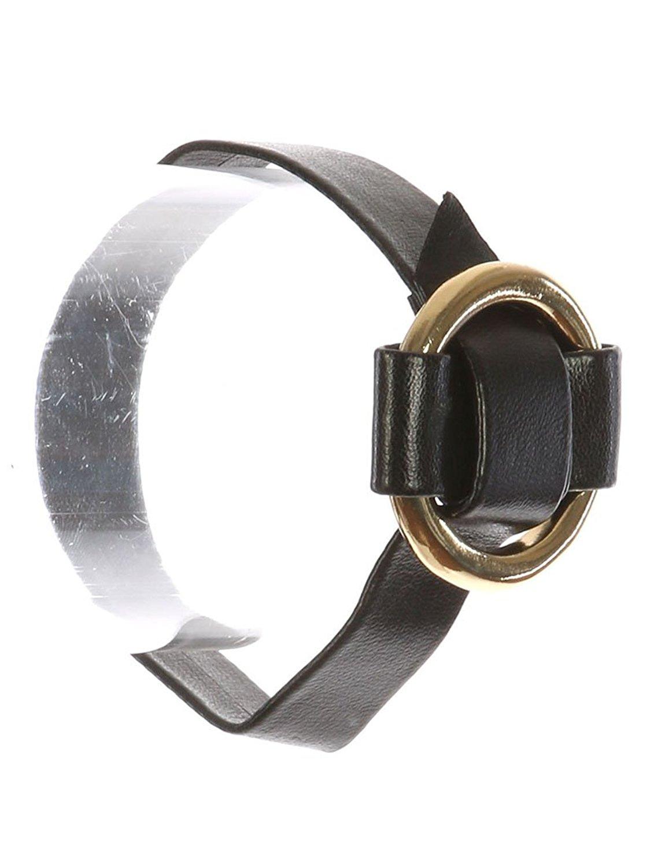 Black faux leather adjustable metal ring buckle bracelet Fashion Jewelry FancyCharm