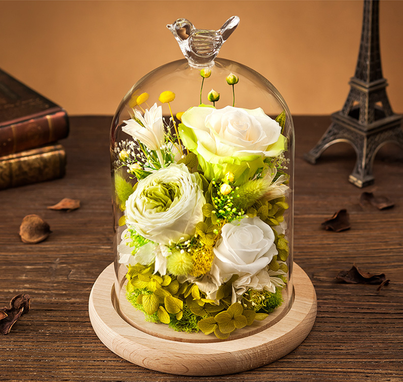 Eternal Wedding Preserved Flower Arrangement Rose In Gl Dome As Giveaways