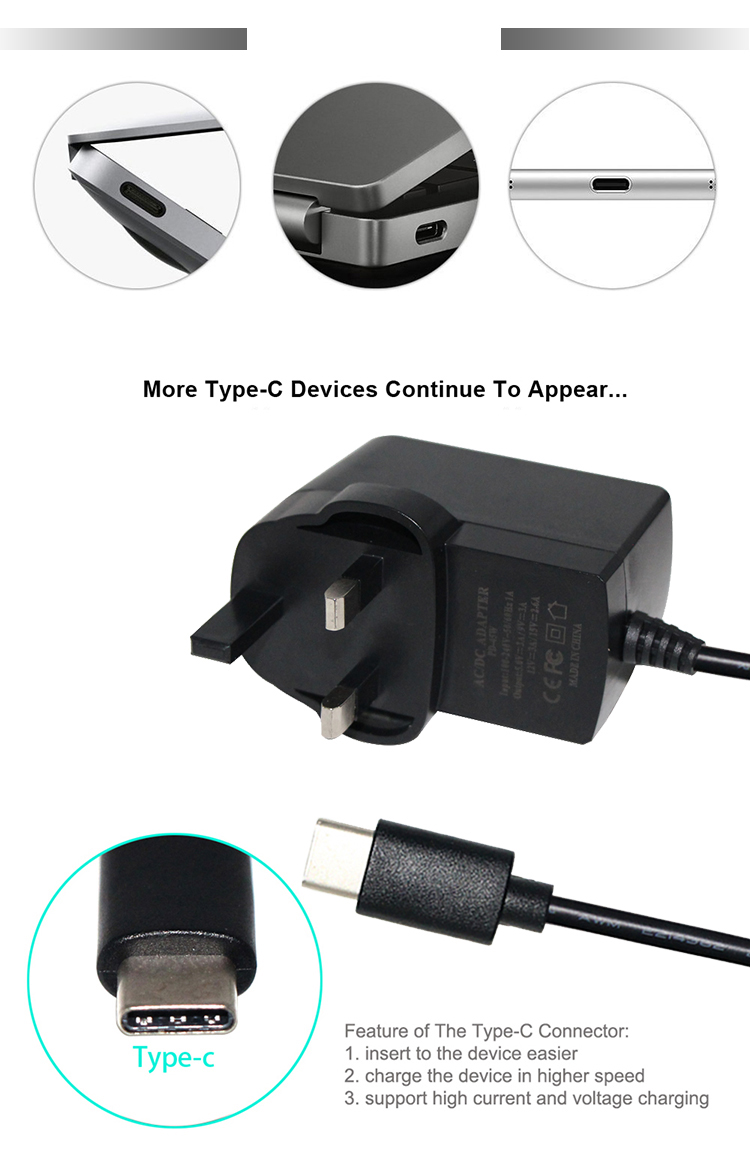 220v uk power adapter QC3.0 power adapter 5v 3A usb type c power adapter usb c charger cable