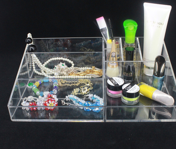 Custom Acrylic Clear Beauty Storage Box Makeup Organiser Tray