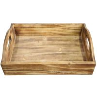 Wholesale rustic style small rectangular custom home decorative wooden food fruit serving tray with handle