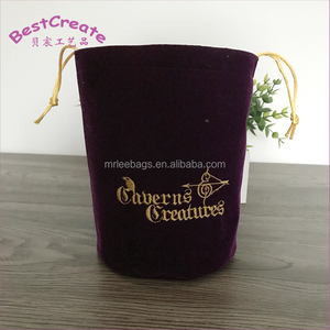 Embroidery logo satin lined velvet pouches bottle shaped drawstring dice bags