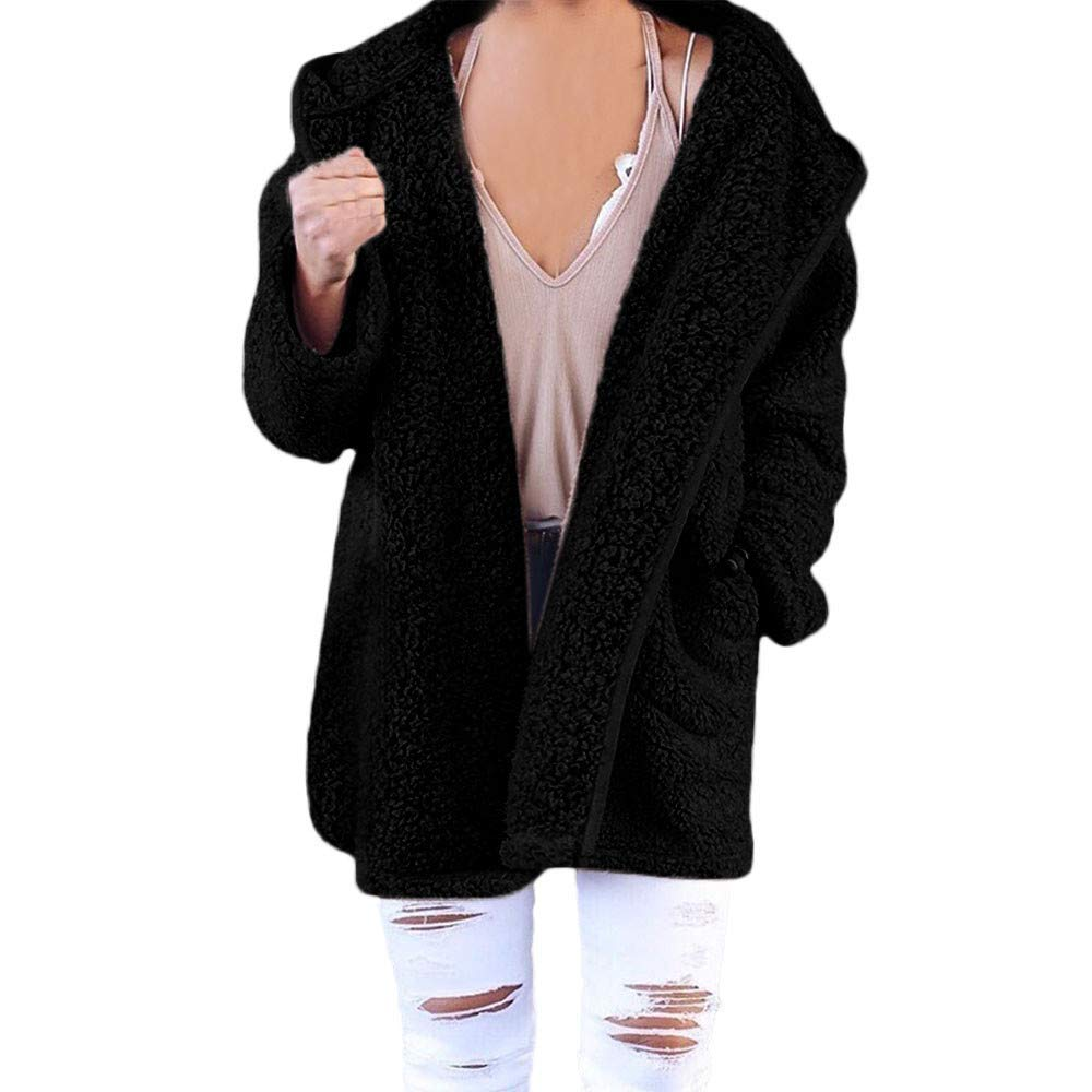 Amiley Parkas Women Winter,Womens Solid Cardigan Faux Fur Hooded Soft Outwear Jacket Chunky Warm Coat