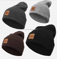 winter custom knitted beanie hat with PU leather