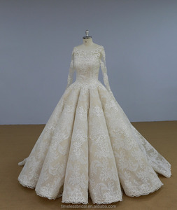 Real photo long sleeves lace beaded draped skirt wedding dress bridal gown