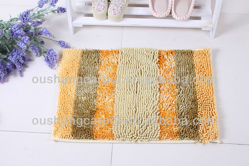 New Fashion Polyester Shaggy Stripe Chenille Floor Mat