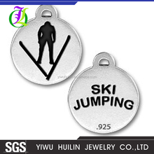 CN186466 Yiwu Huilin jewelry Custom Logo Ski lovers pendant Antique Silver Plating Sports Ski Jumping charms