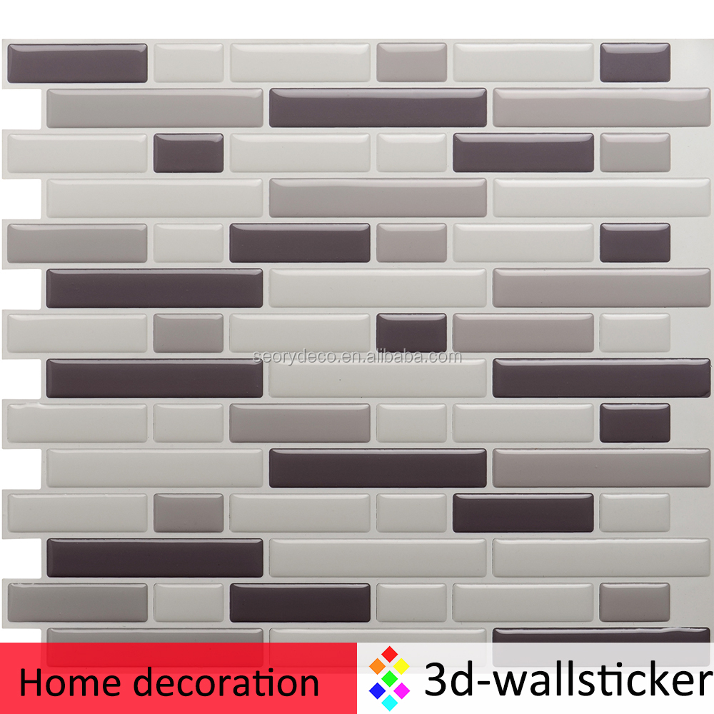 Alto brillo apariencia 3d adhesivo de vinilo azulejo de mosaico para la remodelaci n de la - Adhesivo para azulejos ...