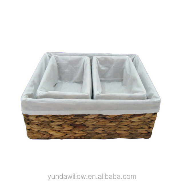 Water hyacinth&Wood waving baskets for storage