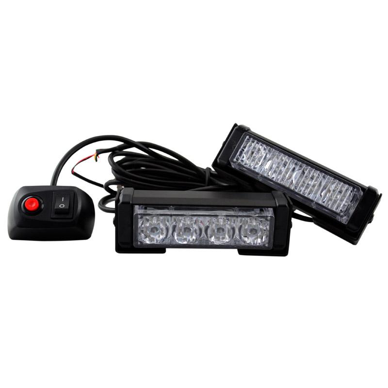 2X высокая мощность 8 Вт красный / BLUE10 режимов мигания из светодиодов сигнальная лампа 8LED строб внимание легкий автомобиль аварийное освещение маяка бар