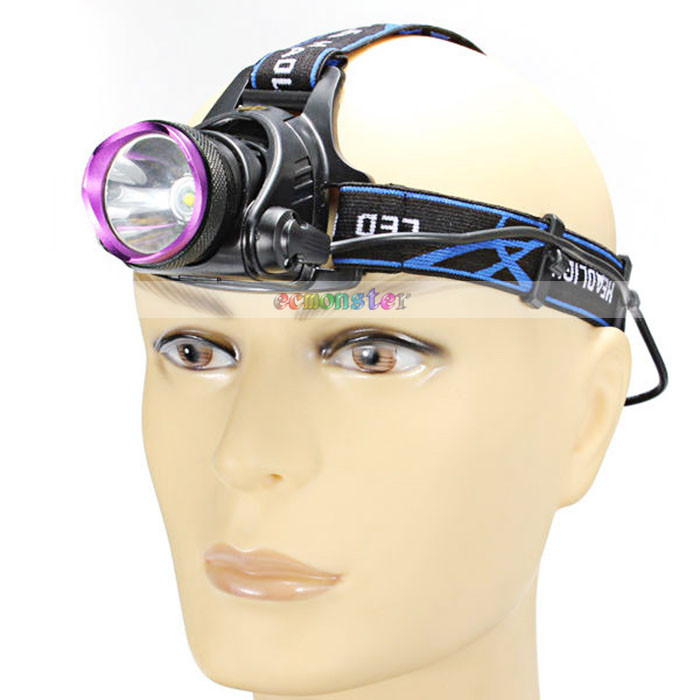 1-bulb 3 Modes Waterproof LED Headlamp LED Headlight Purple & Black