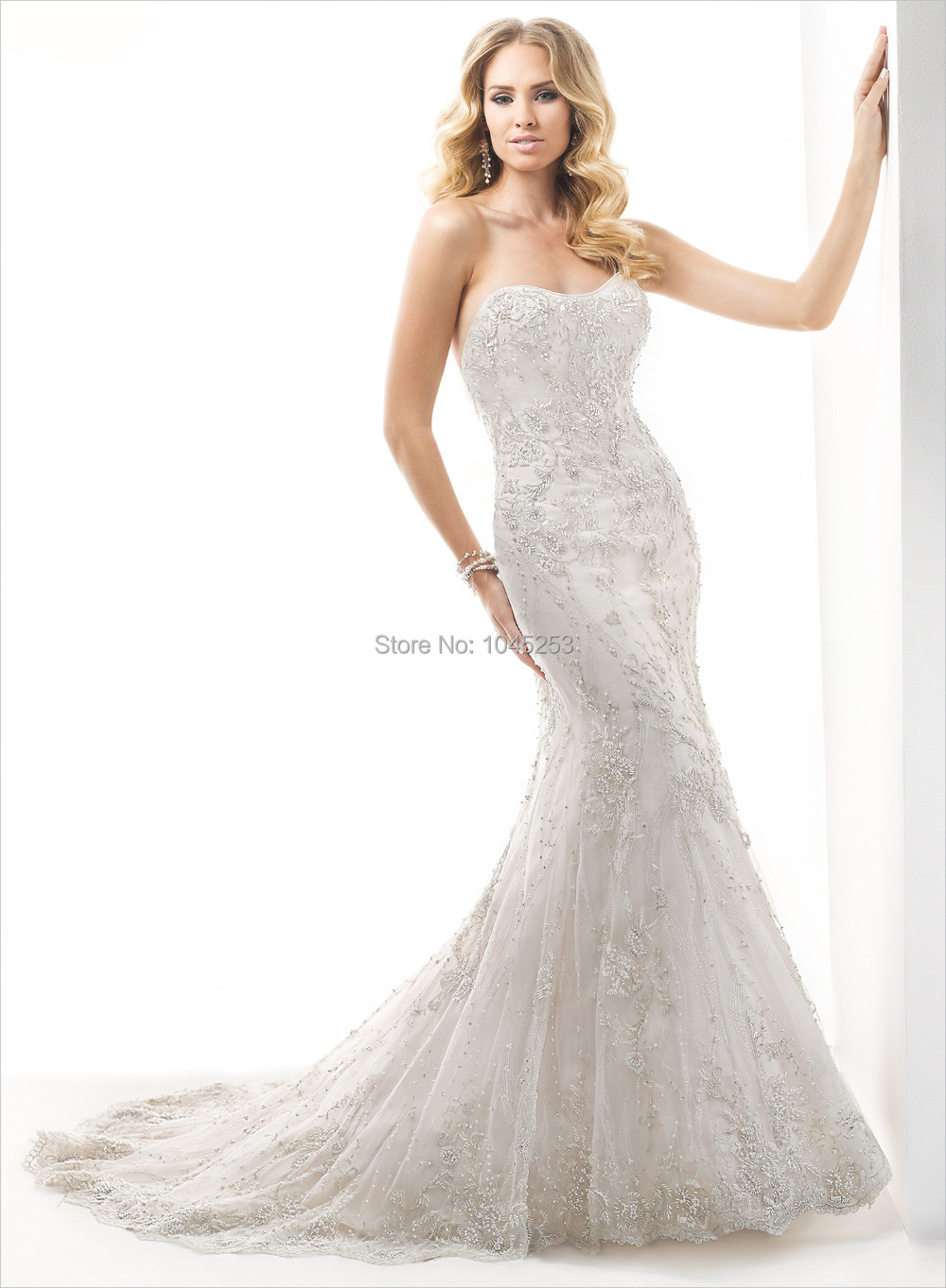 71b668261fe Get Quotations · New Arrive 2015 sexy fashion mermaid wedding dress Lace  high atmospheric sleeveless draped on file wedding