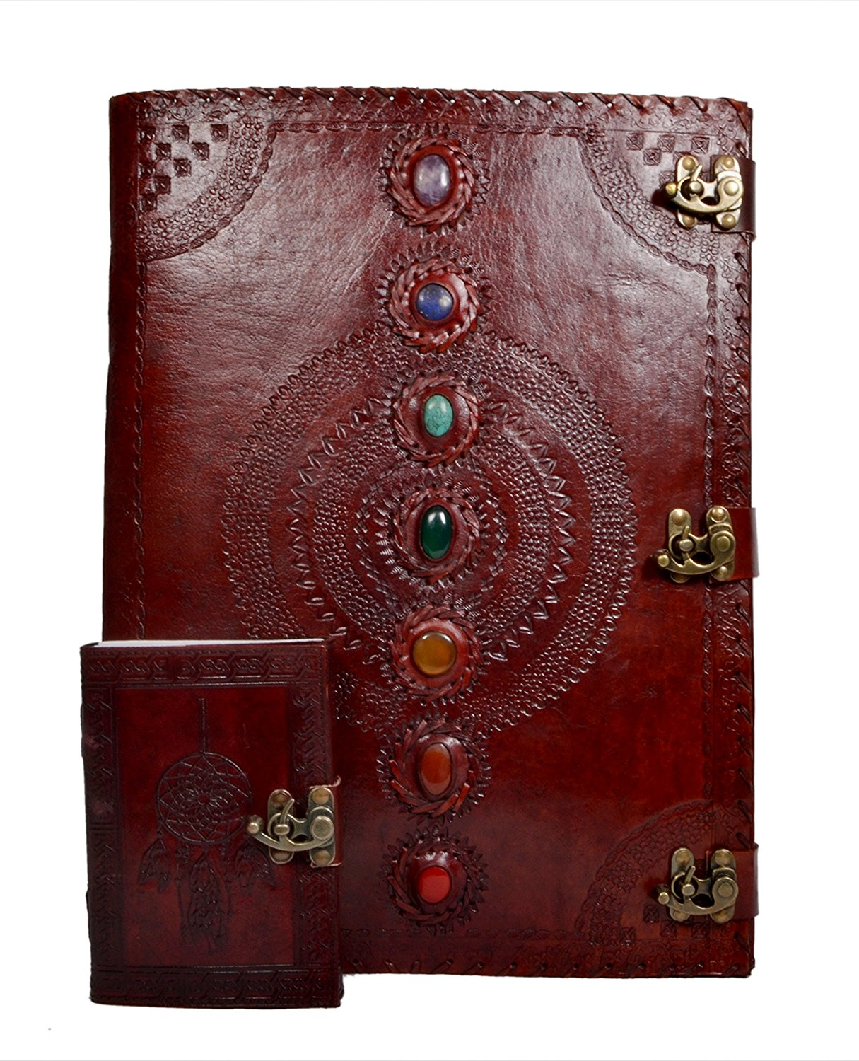 New Leather Journal Seven Stone Medieval Stone Embossed Diary with Dream Catcher Embossed Handmade Notebook Travel For Men & Women Antique Quality Paper Perfect Notebook