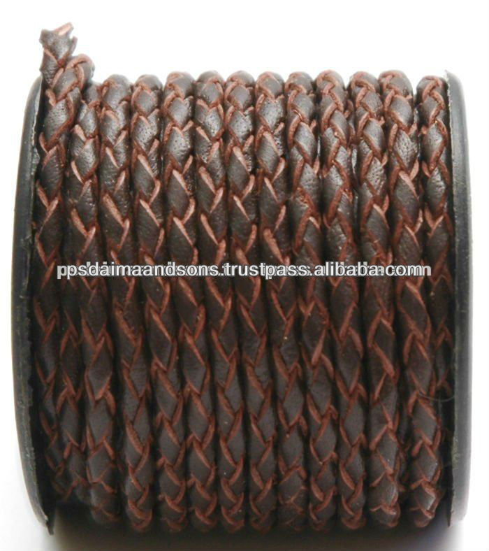 8 mm Round braided Leather Cords