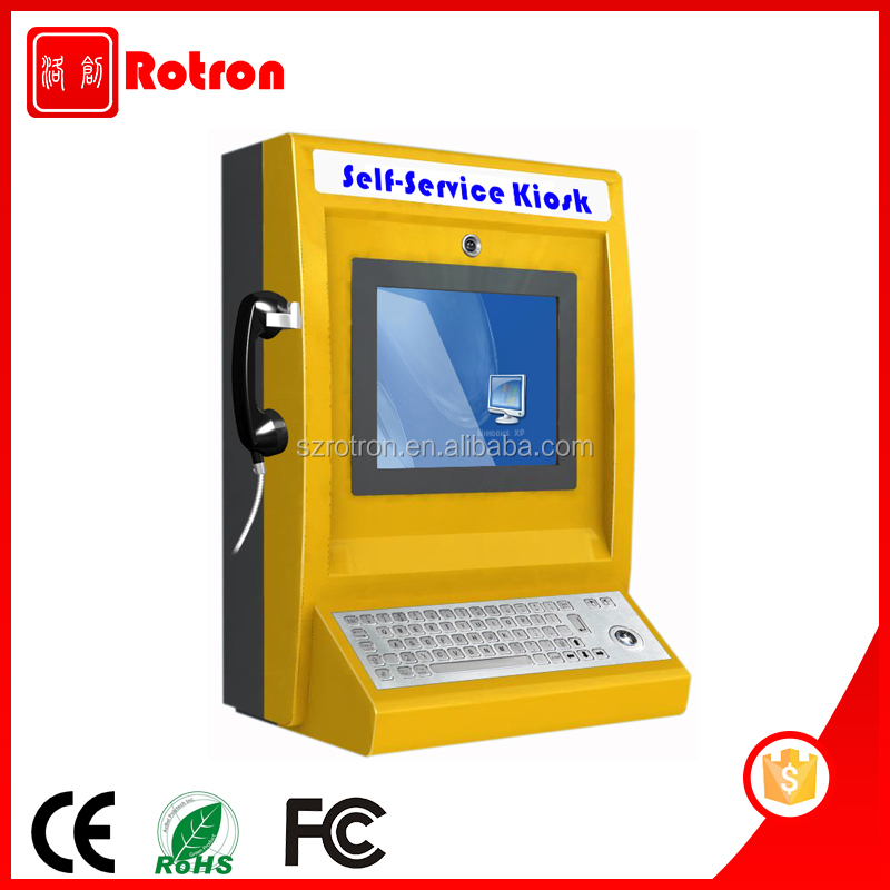 Anti Vandalism wall mounted Mental Keyboard Interactive information kiosk with telephone