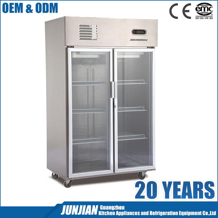 Welbas 2 Doors Commercial Glass Door Freezer With Remote Compressor