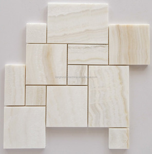 Cheap Square White Onyx Shower Pattern Polished Mosaic Tile Backsplash