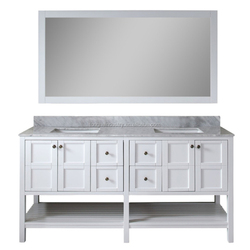 72'' double sink carrara white marble hotel bathroom vanity furniture