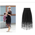 New Women Long Lace Hollow Out Office High Waist Party Pencil Skirts Black