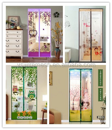 wholesale magnetic mosquito net door curtain colorful printing hands free mesh curtain