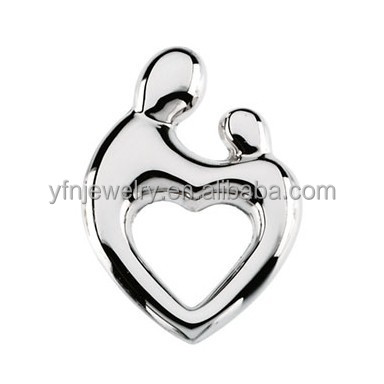 Wholesale 925 Solid Silver White Gold Mother and Child Heart Shaped Pendant