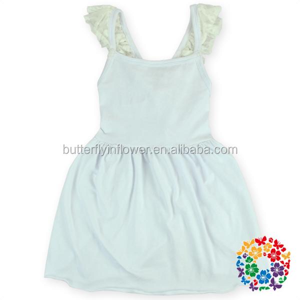 Plain white cotton dress for girls