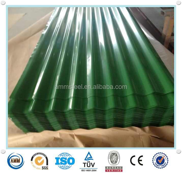 PPGI Corrugated Steel Roofing Sheet zinc coated in color for house building from China manufacture