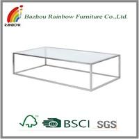KD salon furniture glass shelf table rectangle metal frame tea table