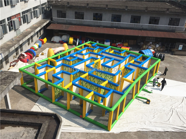 outdoor yellow inflatable obstacle course inflatable corn maze ,inflatable maze for laser tag