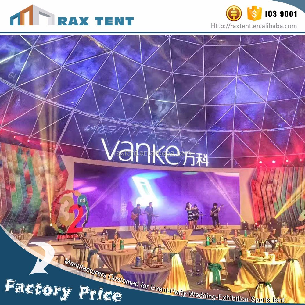 Geodesic dome marquee green house outdoor event dome tent with white fabric PVC cover